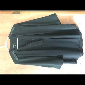 Express Black 1/4 Button Blouse